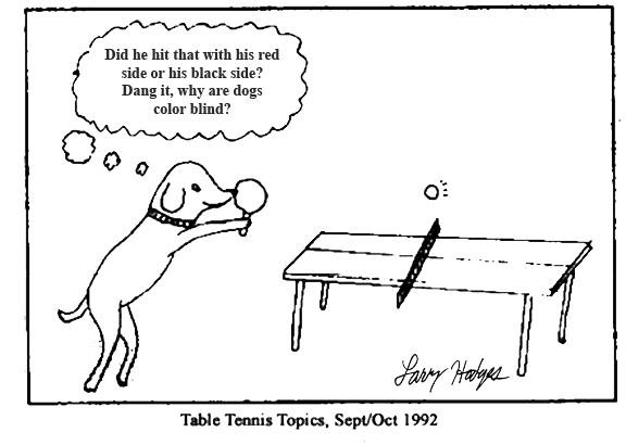 Sept/Oct 1992 Dog cartoon Table Tennis Topics, Sept/Oct 1992 Editor's